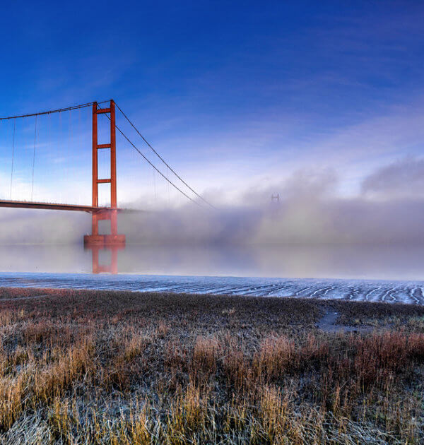 Humber bridge on a frosty morning