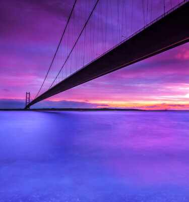 The Humber bridge - purple sunset